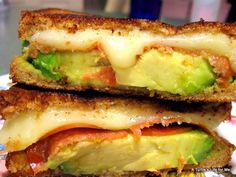 Grown-up grilled cheese with avocado, mozzarella, and tomatoes!