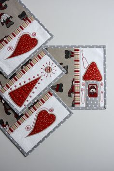 christmas placemats linens, table set Kajura appliqué houses christmas tree hearts quilting quilts by Kajura on Etsy Applique, Christmas Placemats, Table Settings, Colours, Quilts, Feelings, Fabric, Handmade, Etsy