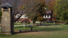 A Tilt Shift style picture of Glade Run's Zelienople Campus showing off our Annex building and the bell tower on a fine fall day. #tiltshift #fall #folliage #minature