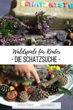 Waldspiele für Kinder: die Schatzsuche im Wald Forest games for children: the treasure hunt. In autumn, walks in the woods are part of it for me. This game is fun, teaches toddlers to distinguish colors and mindfulness for nature. Game Room Kids, Games For Kids, Easter Activities, Family Activities, Forest Games, Scavenger Hunt Birthday, Walk In The Woods, Woodland Party, Outdoor Fun