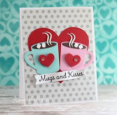 Handmade card featuring the Laina Lamb Design Hug in a Mug stamp set and Hot Cocoa Cups Die-namics - Amy Kolling #mftstamps