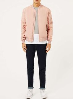 Light Pink MA1 Bomber Jacket - Men's Coats & Jackets - Clothing - TOPMAN