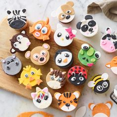 FMM Mix n Match Animal Face Icing Cutter in icing cutters and moulds at Lakeland - Kekse Ideen Fondant Cupcakes, Kid Cupcakes, Animal Cupcakes, Fondant Toppers, Tiger Cupcakes, Jungle Cupcakes, Valentine Cupcakes, Cupcake Tier, Cupcake Icing