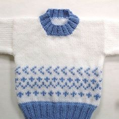 Fair Isle baby sweater - 6 to 12 months - Baby shower gift - Infant hand knit pullover - Baby girl sweater - Baby boy sweater - Gift Baby Cardigan Knitting Pattern, Baby Boy Knitting, Fair Isle Knitting Patterns, Knitting For Kids, Hand Knitting, Sweater Patterns, Knitting Sweaters, Baby Girl Sweaters, Boys Sweaters