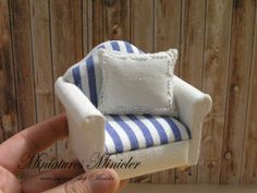Miniature Dollhouse Armchair And Cushion  Nautic by Minicler, €15.00