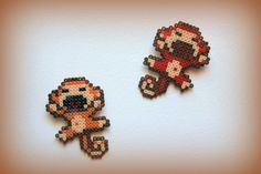 Monkey hama beads by ArtesanDroides Fuse Bead Patterns, Perler Patterns, Beading Patterns, Beading Ideas, Hama Beads Animals, Beaded Animals, Diy Perler Beads, Pearler Beads, Arte 8 Bits