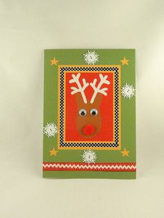 Two embellished Christmas Cards Set  Rudolph  by ToppyToppyKnits, $10.00