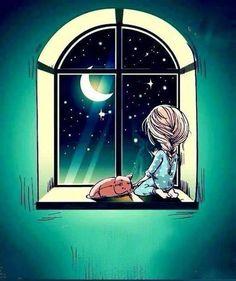 Illustration Art Dessin, Night Illustration, Cartoon Girl Images, Moon Magic, Unusual Art, Good Morning Good Night, Anime Art Girl, Cute Wallpapers, Art Pictures