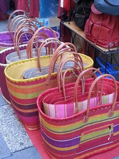Colourful baskets in Aix en Provence.