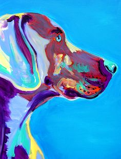 Weimaraner - Blue Painting Print by Alicia VanNoy Call
