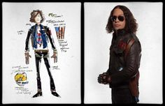 Gerard Way's concept art for the Killjoy character Jet Star, side by side with the final design worn by Ray Toro