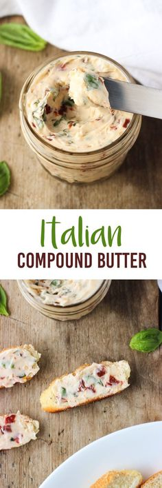 Italian Compound Butter - an easy, flavorful spread packed with fresh basil, garlic, and sun-dried tomatoes. Flavored Butter, Homemade Butter, Fingers Food, Compound Butter, Good Food, Yummy Food, Herb Butter, Vegan Butter, Butter Paneer