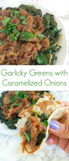 Garlicky Greens with Caramelized Onions by @thelemonbowl