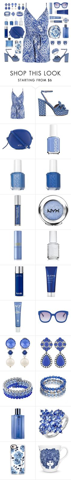 """Blue"" by fatima92 ❤ liked on Polyvore featuring Boohoo, Tabitha Simmons, N°21, Dolce&Gabbana, Essie, Urban Decay, NYX, Lipstick Queen, La Prairie and Elemis"