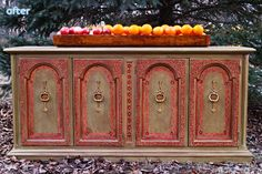 Brown Buffet with Red Makeover  | betterafter.net