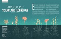 Spread illustration for Science magazine's special issue about the nexus between technology and biology. #illustration #editorial #conceptual #magazine #science #technology #biology #DNA