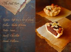 These Chocolate Tarts look fabulous, with it's toppings of walnuts and toasted silvered almonds and apple chips.
