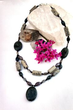 Green stone necklace Mystical Jewelry Garnet by InsomniacTreasures, $68.00