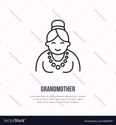 Vector line icon of happy old person. Nursing home sign, linear logo. Outline symbol of grandmother, elderly care. Design element for sites, senior hospital. Download a Free Preview or High Quality Adobe Illustrator Ai, EPS, PDF and High Resolution JPEG versions.