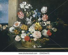 HECKE, Jan van den (1620-1684), Flowers in a Basket, 1650s - 1684, Flemish art, Oil on canvas, - stock photo