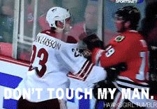 Serious Bromance...not a Hawks fan, but this gif is awesome.