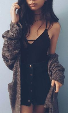 Account Suspended - Fall Outfit Knit Cardi Plus Black Top Plus Denim Skirt - Denim Skirt Outfit Winter, Demin Skirt Outfit, Black Skirt Outfits, Jeans Dress, Formal Winter Outfits, Cool Summer Outfits, Fall Outfits, Fashion Outfits, Fasion
