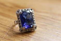 Antique Cobalt Blue Glass Cocktail Ring / 1930's Jewelry / Bridal Jewelry / Wedding Ring/ Free Shipping