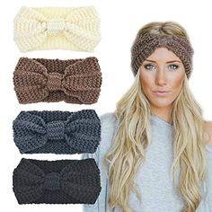 8ec80d8ebac4 DRESHOW 4 Pièces Nœud Bandeau Hiver à Couleur Pure Laine Tricotée Tete Cheveux  Femme Crochet Hiver