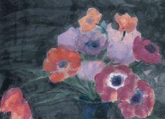 Emil Nolde (German, 1867-1956), Anemonen und Tulpen auf dunklem Grund [Anemones…