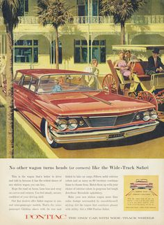 1960 Pontiac Wide-Track Safari Wagon Ad 60's by AdVintageCom