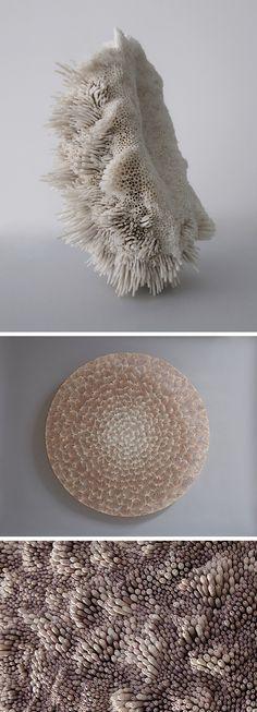 New Textural Sculptures Made With Swirls of Seashells by Rowan Mersh