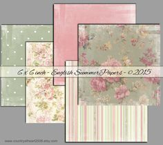 Instant Download - English Summer Papers - 6 X 6 inches  -  High quality Collage Sheet - Printable Download - Gift Tags - Scrapbook