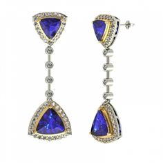 #Earrings of 4.94 Carats #Trillion Shape in Gold @ $1677.60