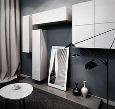 This tetris style entertainment composition consists of RL wall elements of different dimensions and maximises wall space Interior Styling, Interior Decorating, Living Styles, Bespoke Furniture, Wall Spaces, Dining Furniture, Your Space, Living Room Decor, Entertainment Units