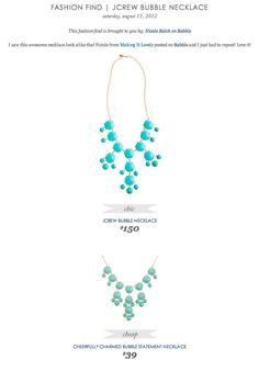 COPY CAT CHIC FASHION FIND: J.Crew Bubble Necklace VS Cheerfully Charmed Bubble Statement Necklace