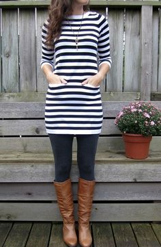 Black and white dress, black tights or leggings, brown boots