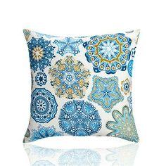 Ornate Circles Cushion Cover, Blue