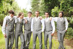 woodsy DIY gainesville field wedding peach and beige palette groomsmen in grey