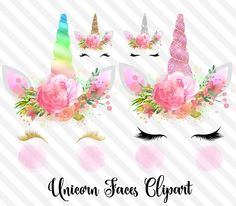Unicorn Faces Clipart by Origins Digital Curio on @creativemarket