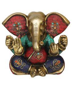 Colorful Brass Ganesh Statue