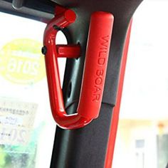 Ruicer Hard Mounted Red Solid Steel Front JK Jeep Grab Handles for Jeep Wrangler JK