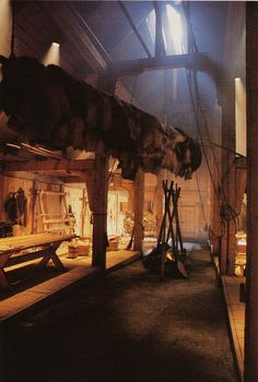 zInterior of recreated long hall at Lofotr, Borg Museum, Norway.