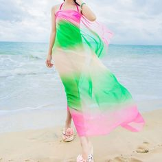 92ee8ebbd4e4a New Colorful Chiffon Wrap Pareo Dress Sarong Beach Bikini Swimwear Cover Up  Rainbow Bikini Beach