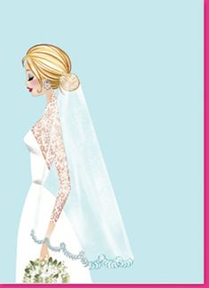 Bridal Shower Invitation with something blue by the Bonnie Marcus Collection. Vintage Veil (VVEIW)
