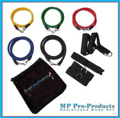 SAVE $24 - MP Pro #Products 11pc Resistance Band Set - 5 Bands, 2 Handles, Door Anchor, 2 Leg Straps + Bag - Men, Women, Use for P90x Home Gym Workouts, Crossfit, Legs, Torso, Top or Bottom Muscle Groups - Its a Gym At Home or on the Road - Best Lifetime Guarantee $35.99
