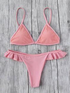 Sets de bikini triángulo con dise?o de volante-Spanish SheIn(Sheinside)