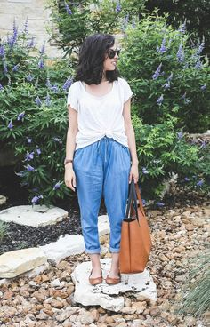 Chambray Joggers | casual denim overalls, brown flats, white tshirt