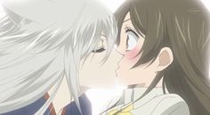 Kamisama Hajimemashita // Kamisama Kiss // Tomoe and Nanami sealing the pact of Mistress and Familiar. <3