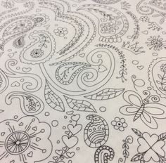 """Michael Miller  Fabric """"Princess Paisley"""" Color Me Fabric-One Yard Cut - black and white fabric, paisley fabric, flower fabric, butterfly by MargosQuiltsNFabric on Etsy https://www.etsy.com/listing/255106431/michael-miller-fabric-princess-paisley"""
