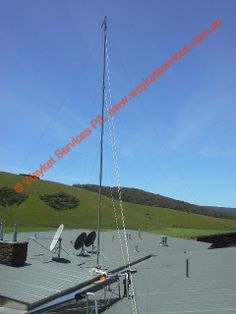 This is the finished job looking from the south west to north east towards the Tewlstra NextG mobile tower 1 x 14DB RFI Yagi atop of a 76Ft mast connected to a Telstra NextG Cel-Fi supplied and instaled by waykatservices.com.au looking at a Telstra NextG mobile tower some 4Km's away but 287M's above this height and on the other side of the Mountain range Mobile Tower, Mountain Range, The Other Side, Regional, Utility Pole, Ham, Hams